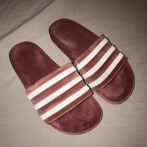Velvet Adidas slides